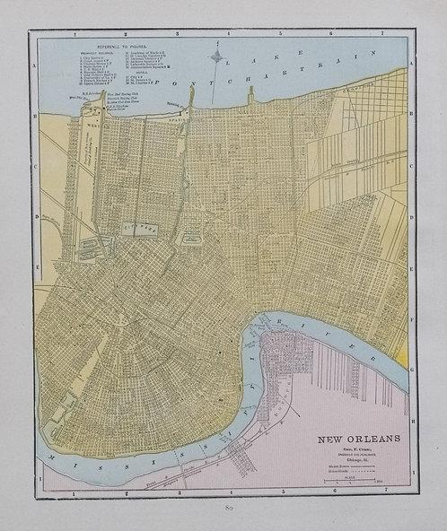 1888 Cram Map of New Orleans verso Cincinnati