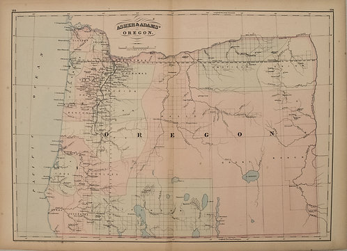 1872 Asher and Adams Map of Oregon