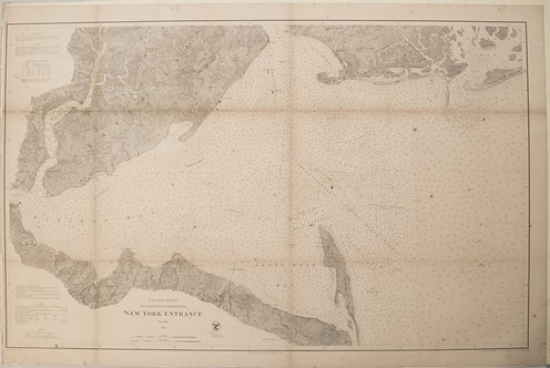 1867 US Cost Survey Chart of Part of New York Entrance (Sandy Hook, Staten Is.)