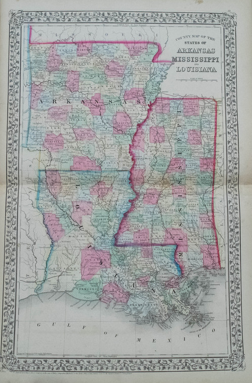 1870 Mitchell MapMississippi Louisiana Arkansas Antique Maps