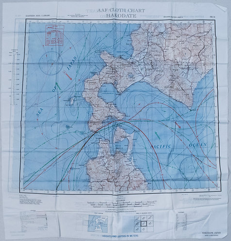 1943 US Army Air Force Silk Escape Map of North Honsu and Hokkado