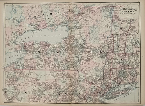 1872 Asher and Adams Map of New York and Southern Ontario