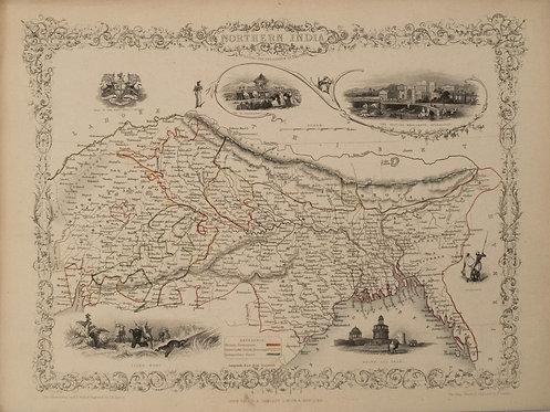 1851 Tallis Map of Northern India