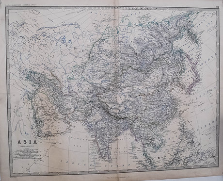 1845 Johnston Map of Asia
