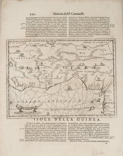 1690 Coronelli Map Guinea and Adjacent Gulf in Africa