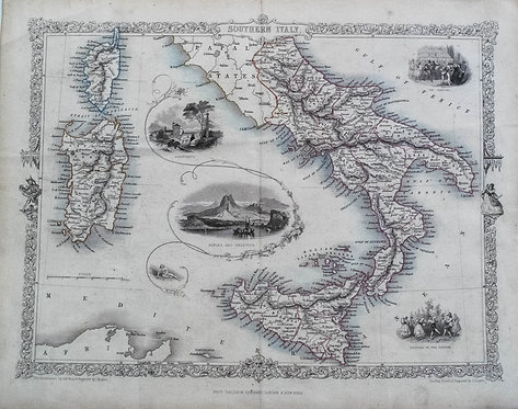 1850 Tallis Decorative Map of Southern Italy