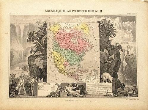 1861 Levasseur North America, Texas Republic Map