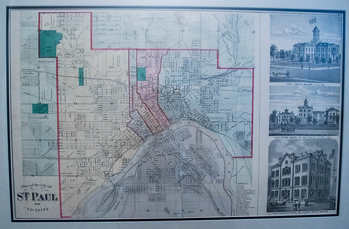 1874 Andreas Decorative Map of St. Paul, Minnesota