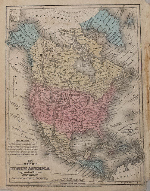 1852 Mitchell Map of North and Central America