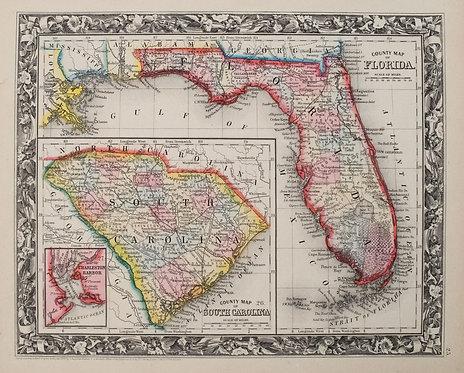 1860 Mitchell Map of Florida and South Carolina