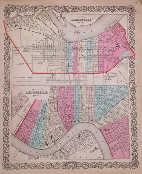 1865 Colton Map of Louisville and New Orleans