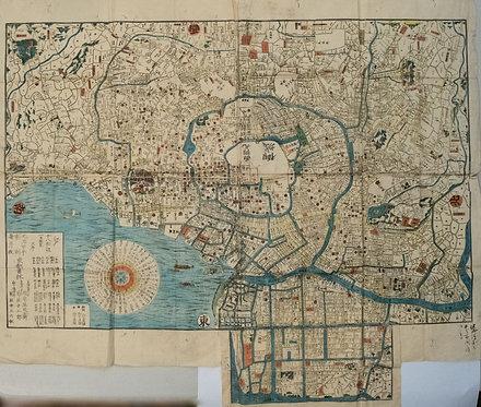 1864 Edo Period Japanese Map of Tokyo