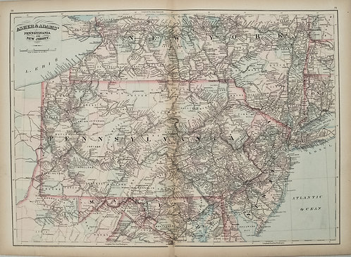 1872 Asher and Adams Map of Pennsylvania and New Jersey