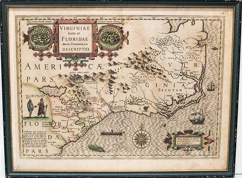 1606 Hondius Map of Virginia and the Carolinas