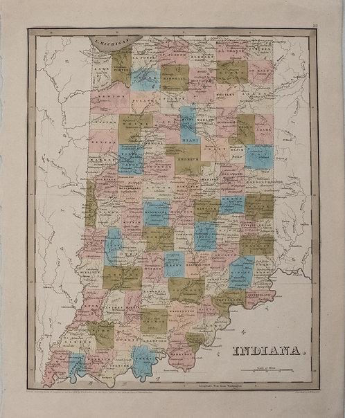 1838 Bradford Map of Indiana