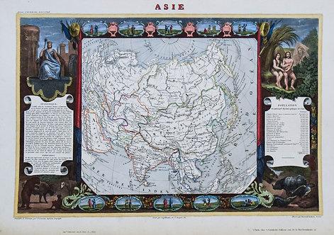 1850 Levasseur Map of Asia
