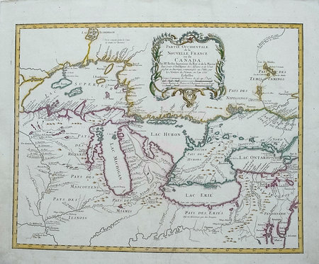 1755 Homann Landmark Map of the Great Lakes