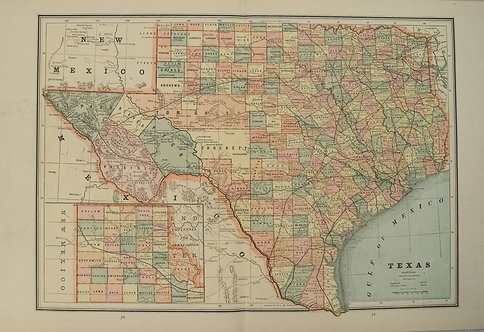 1886 Cram Map of Texas [verso] Indian Territory [verso] Arkansas