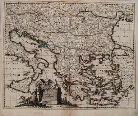 1730 Schenk Map of Hungary, Greece, Balkans and Southern Italy