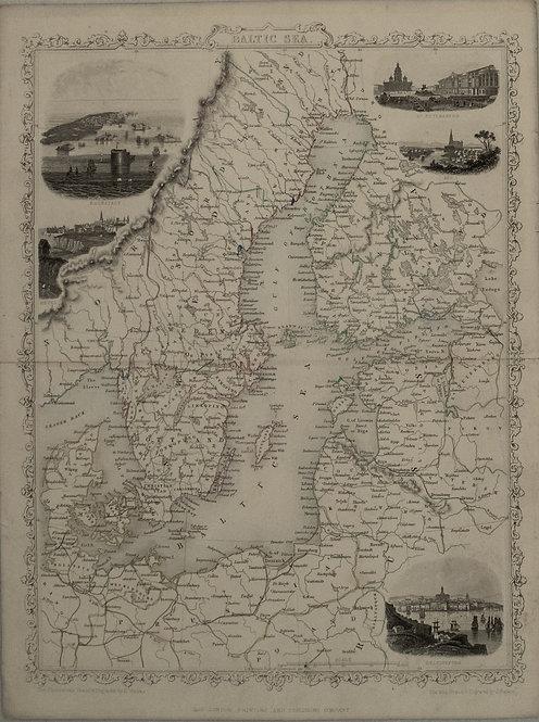 1851 Tallis Map of the Baltic Sea Region