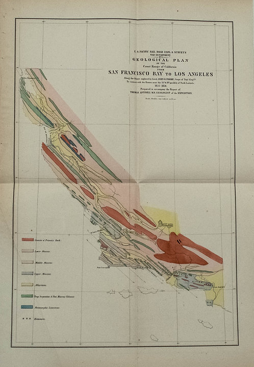 1855-6 Geological Plan for Pacific Rail Road Surveys