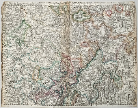 1750 Homann Map of Southern Germany's Rhine Valley