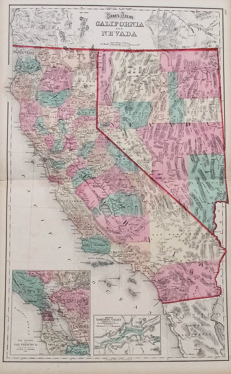 1875 Gray's Map of California and Nevada
