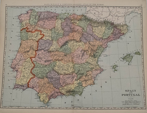 1893 Rand McNally Map of Spain & Portugal