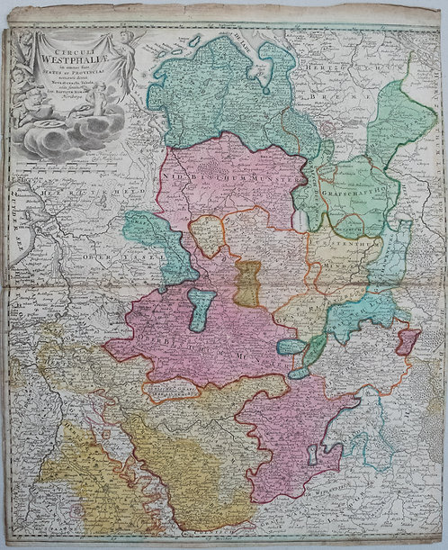 1710 Homann Map of Northwest Germany from Cologne to Hamburg
