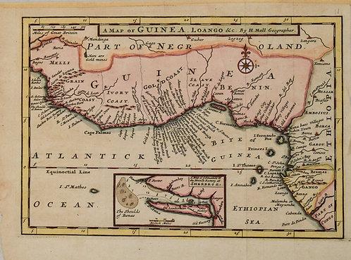1730 Moll Map of the Guinea Coastal Area