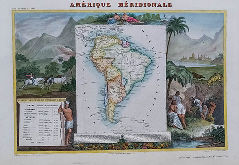 1840 Levasseur Map of South America