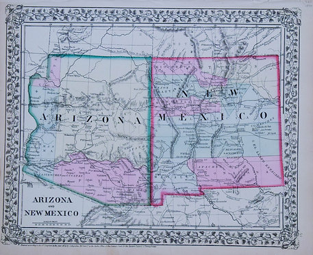 1870 Mitchell Map of Arizona and New Mexico