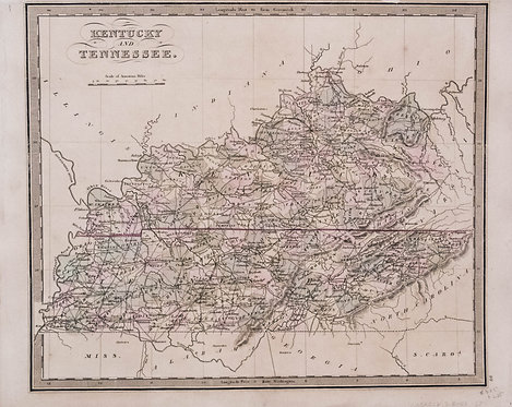 1842 c. Greenleaf Map of Kentucky and Tennessee