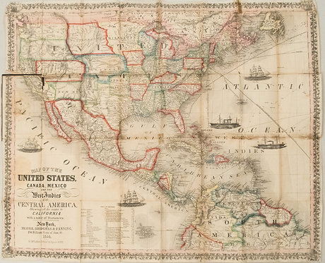 1854 Thayer, Bridgman, Fanning Map of US, Mexico and Caribbean