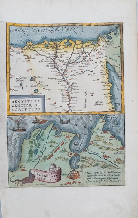 1535 Ortelius Map of Egypt and Carthage