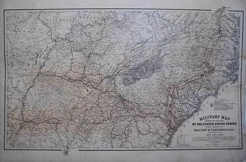 1865 US War Dept. Map of Gen. Sherman's Marches