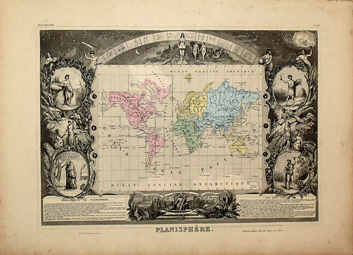 1861 Levasseur Ornate World Map