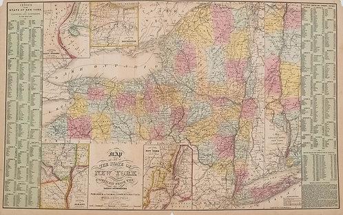 1854 Thomas, Cowpwerthwait Map of New York State