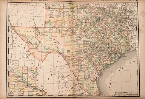 1894 Rand McNally Map of Texas [verso] Indian Territory, N Dakota