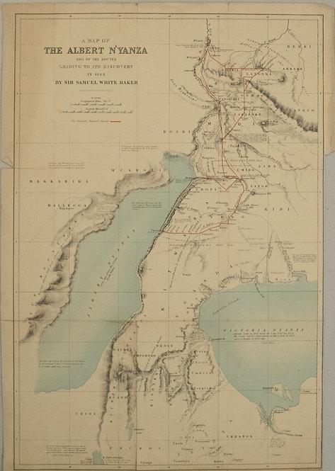 1864 Cambridge & Macmillian Map of Lakes Victoria and Lake Albert Area