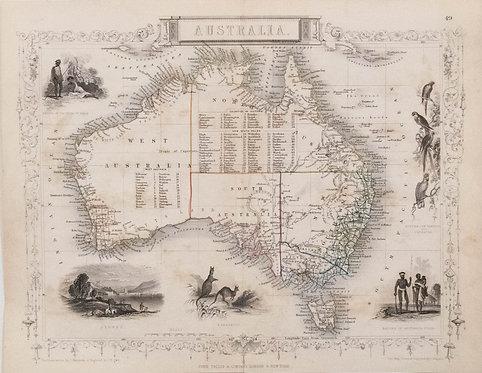 1850 Tallis Map of Australia
