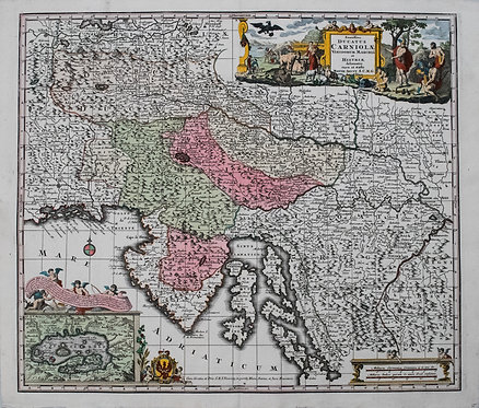 1730 Seutter Map of Slovenia and Croatia