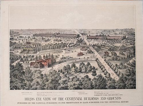 1876 Bird's Eye View of Philadelphia Centennial Fair and Exhibit