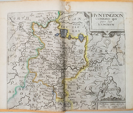 1610 Saxton/Camden Map of Hundigtonshire UK