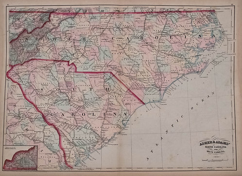 1872 Asher Adams Map of North and South Carolina