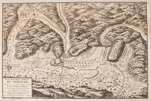 1705 Coquat Plan of the Battle of Fribourg during the 30 Yr.'s War