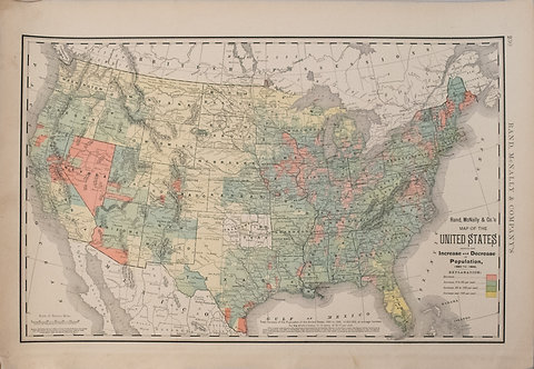 1892 Rand McNally US Population Trend Map