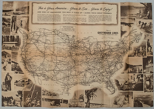 1946 Greyhound US Route Map