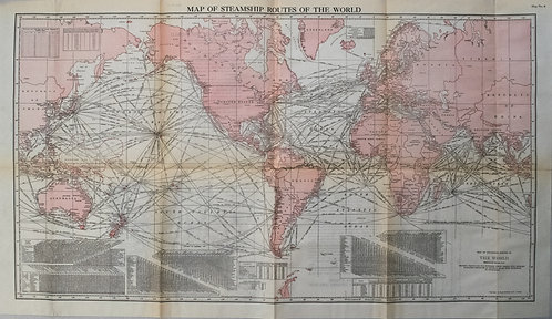 1927 Map of Steamship Routes of the World