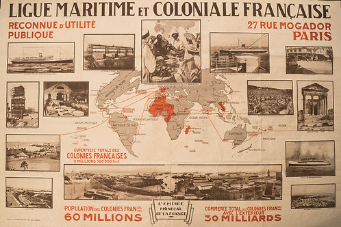 Early 1900s World Map of French Colonies